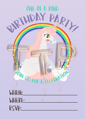 UNICORN PURPLE FREE DOWNLOAD BIRTHDAY INVITATION with watermark