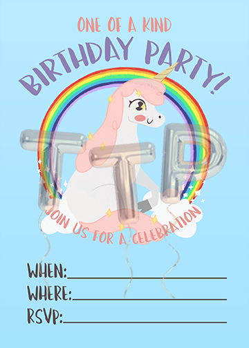 UNICORN blue FREE DOWNLOAD BIRTHDAY INVITATION watermark