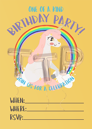 UNICORN yellow FREE DOWNLOAD BIRTHDAY INVITATION with watermark