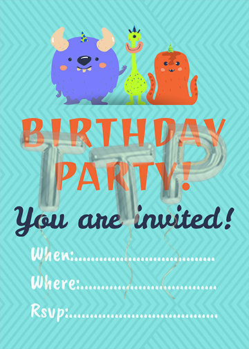 monsters blue free download invitation watermark