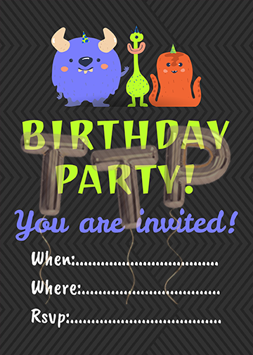 monsters gray free download invitation watermark